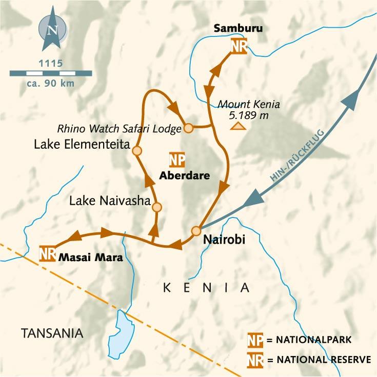 Mount Kenia Karte.Wanderreise Masai Mara Rift Valley Samburus Elefanten