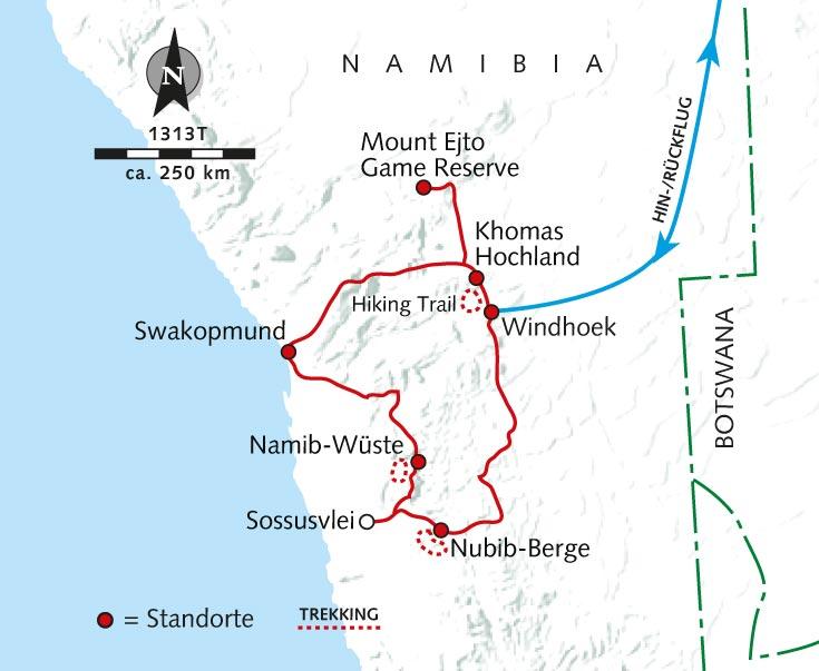 Namib Wüste Karte.Trekking Tour Trekking Safari Berge Wüsten Farmland Namibia