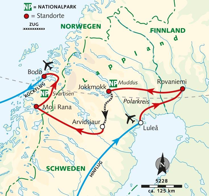 Polarkreis Alaska Karte.Wanderreise Drei Auf Einen Streich Wandern Am Polarkreis