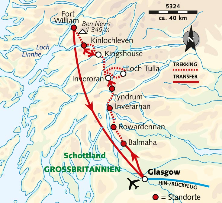Schottland Karte Highlands.Wanderreise Schottlands Schönster Trek West Highland Way