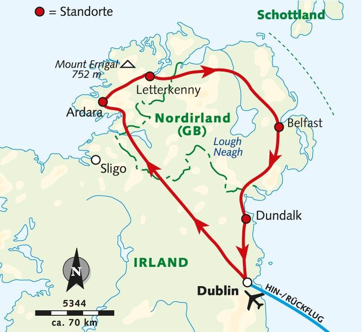 Irland Karte Rundreise.Wanderreise Irlands Norden Mystische Schonheit Irland