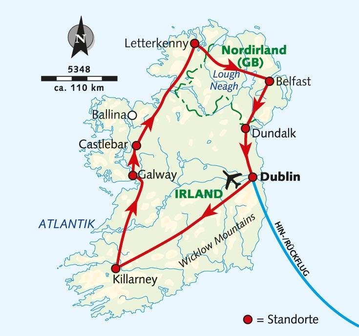 Irland Karte Rundreise.Wanderreise Grosse Irland Rundreise Irland Wikinger Reisen