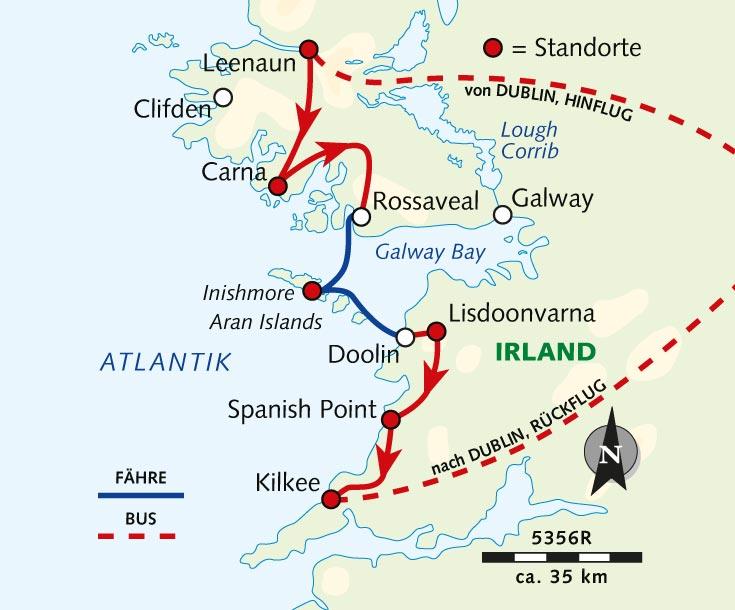 Irland Karte Rundreise.Radreise Irlands Ursprunglicher Westen Irland Burren Und