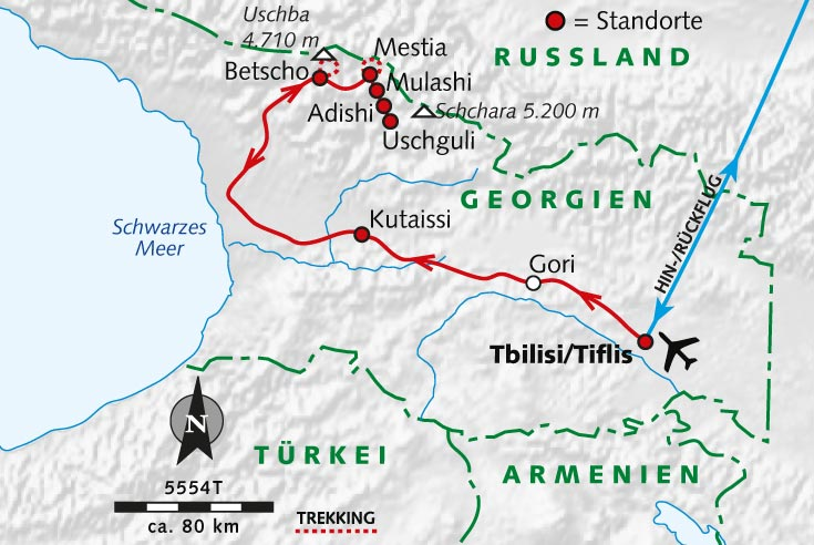 Georgien Karte.Trekking Tour Georgien Türme Tschatscha Und Der Transcaucasian