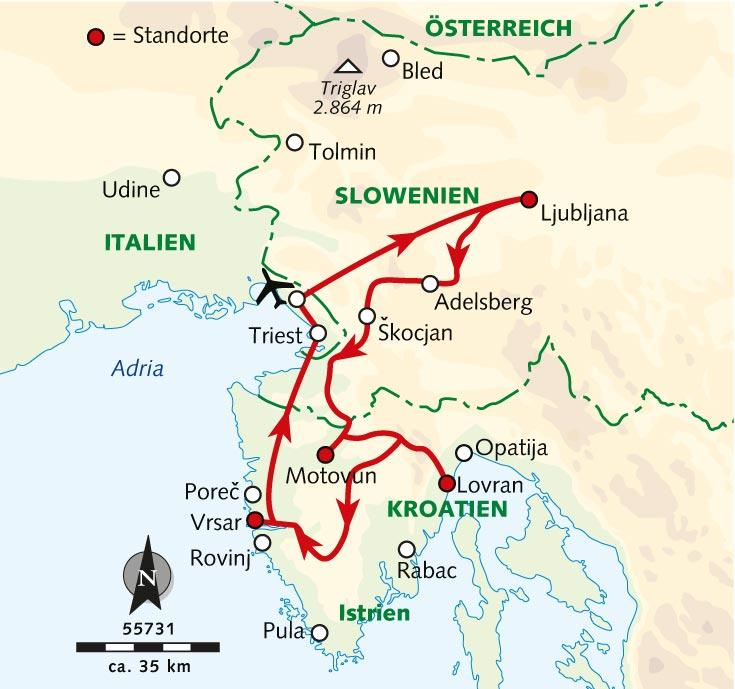 Karte Istrien Kroatien.Wanderreise Istrien Traumkusten Truffel Traditionen