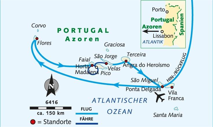 Azoren Karte.Wanderreise Azoren Intensiv Inselhopping Im Atlantik Portugal