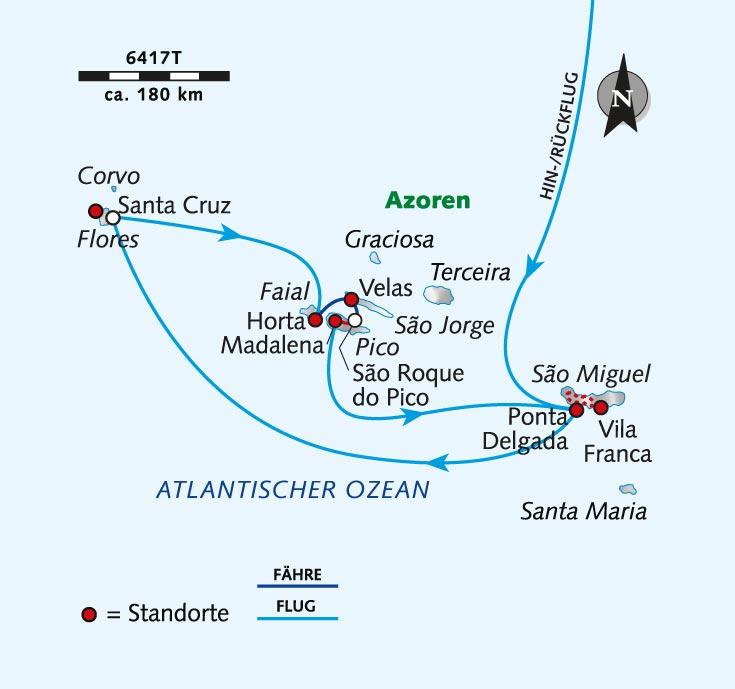 Azoren Karte Portugal.Trekking Tour Azoren Trekken über Die Grünen Vulkaninseln