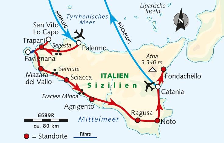 Sizilien Karte ätna.Radreise Bella Sicilia Zwischen Küste Und Vulkan Italien