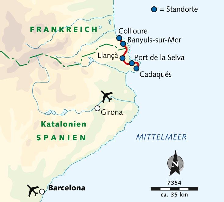 Spanien Festland Karte.Individuelle Wanderreise Katalanische Küste Berge Und Meer