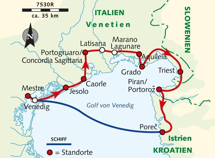 Karte Kroatien Pula.Individuelle Radreise Von Venedig Nach Poreč Italien Venetien