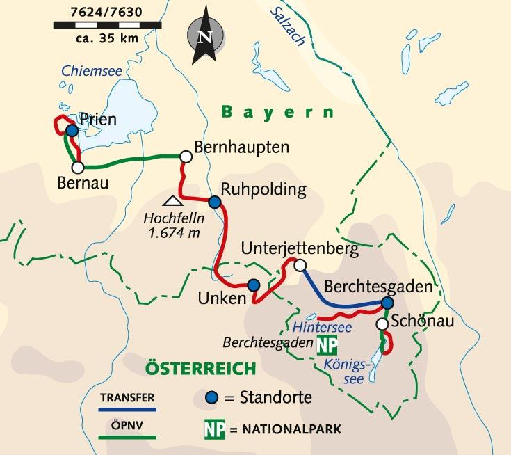 chiemsee karte deutschland Individuelle Wanderreise: Vom Königssee zum Chiemsee   Deutschland