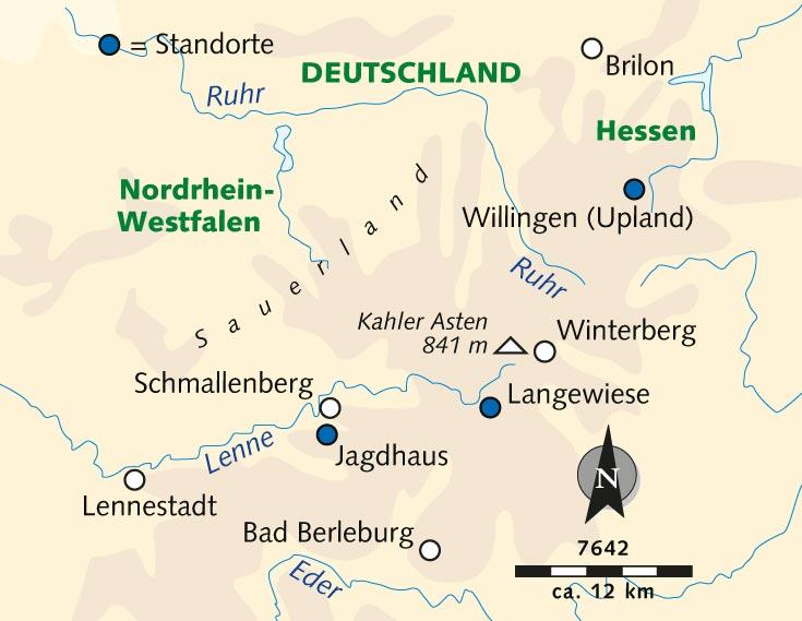 Sauerland Karte Deutschland.Individuelle Wanderreise Wandern Wellness Auszeit Im Sauerland