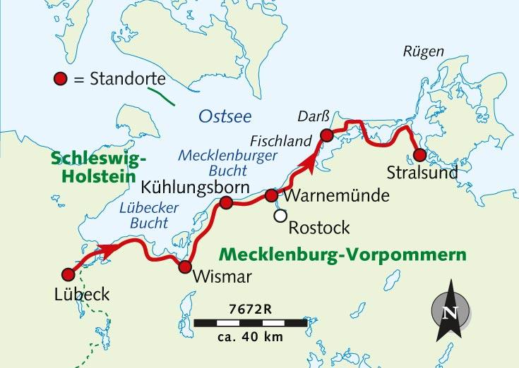 Individuelle Radreise Ostseekusten Radweg Lubeck Stralsund