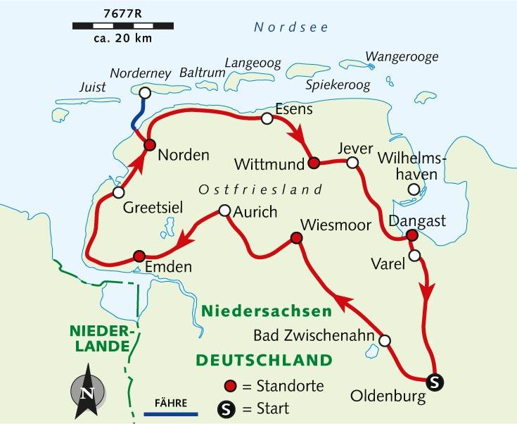Ostfriesische Nordseeküste Karte.Individuelle Radreise Ostfriesland Meer Watt Und Deiche