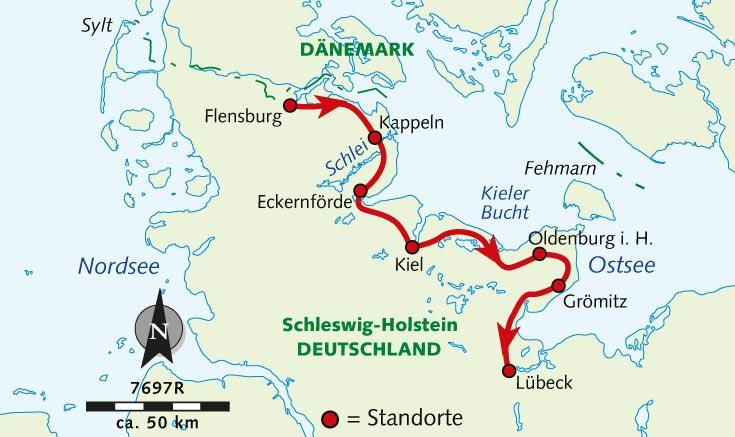 Kieler Bucht Karte.Individuelle Radreise Der Ostseeküsten Radweg Von Flensburg Nach