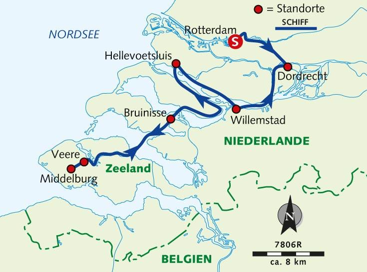 Zeeland Holland Karte.Individuelle Radreise Zeeland Mit Rad Und Schiff
