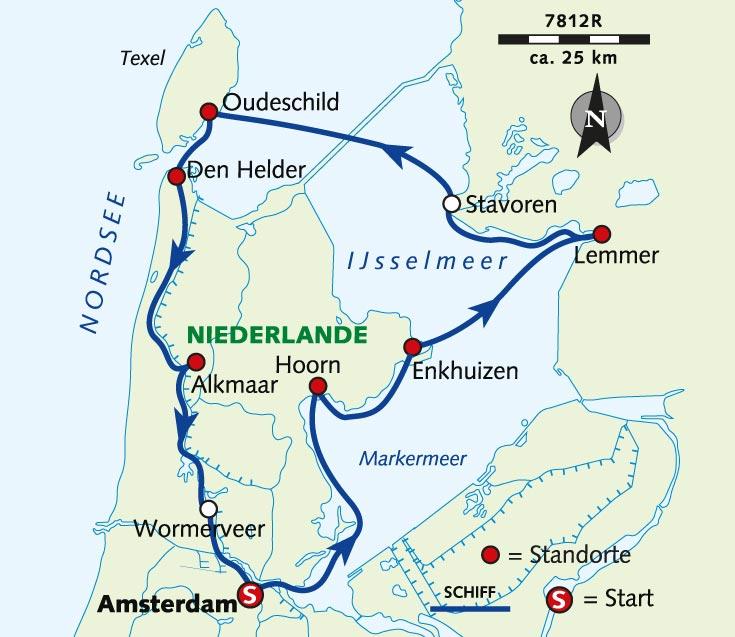 Niederlande Ijsselmeer Karte.Individuelle Radreise Nördliches Holland Mit Rad Und Schiff