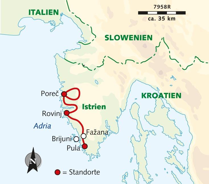 Karte Istrien Kroatien.Individuelle Radreise Kurztrip Istrien Von Porec Nach