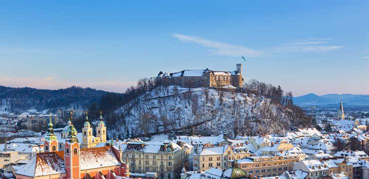 Winterliches Ljubljana zur Jahreswende
