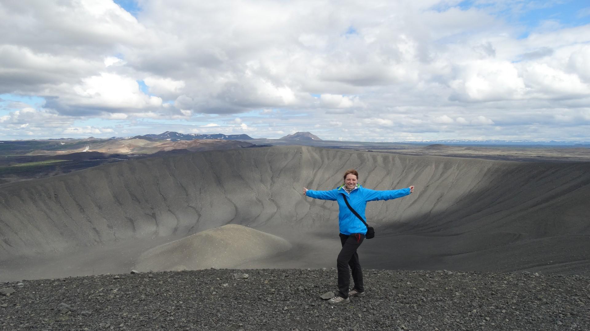 Nach erfolgreicher Erklimmung des Vulkankegels des Hverfjalls!
