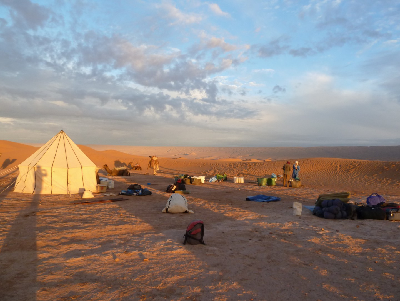 Unser Camp im Sonnenuntergang