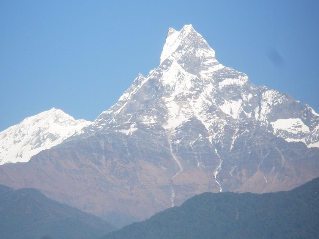 Blick gegen das Annapurna Massiv