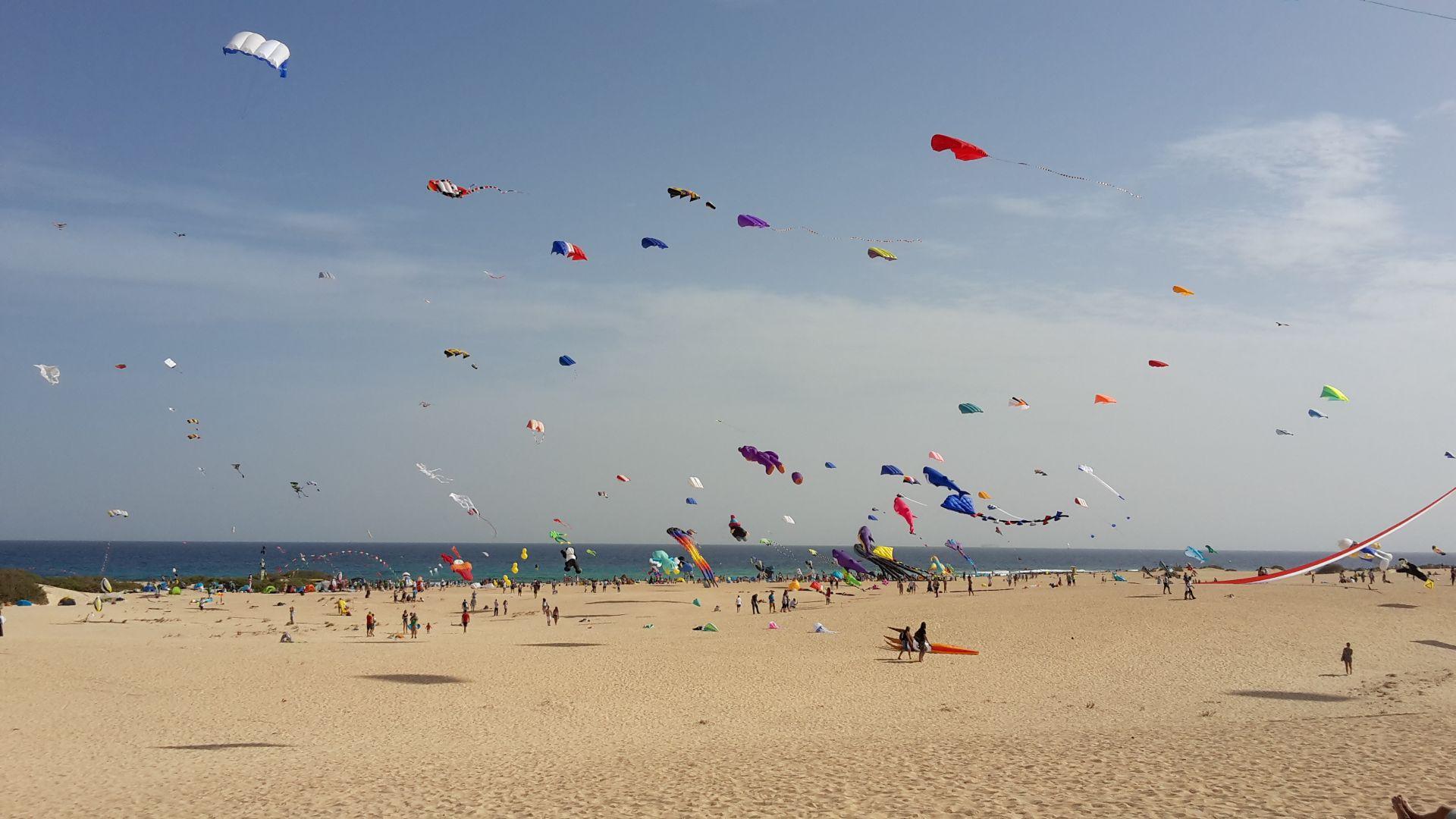 Drachenfestival am Strand von Corralejo
