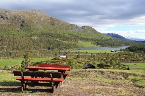 Blick von Hindsaeter auf Sjoa und Sjodalen