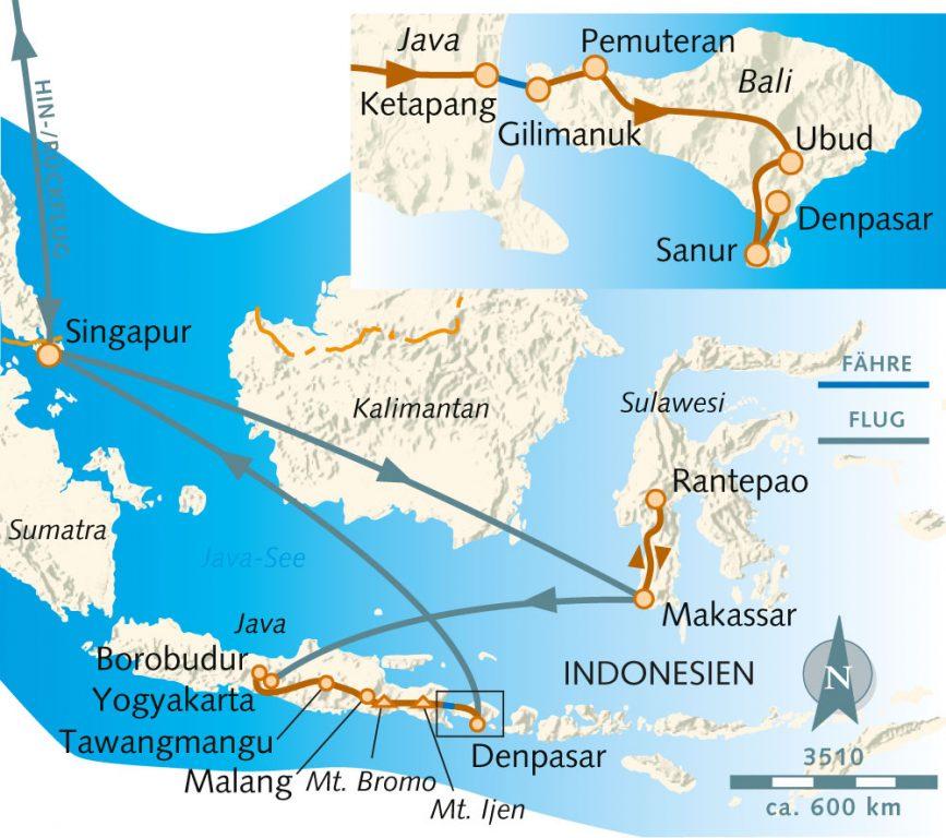 Karte Wikingerreise Indonesien