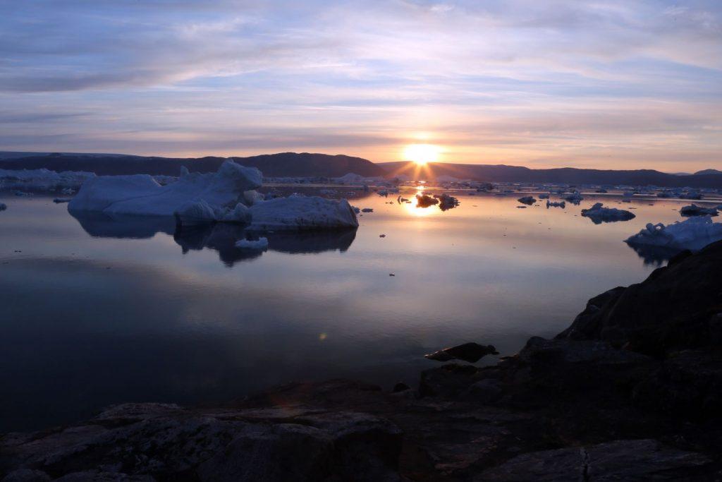 Sonnenunteregang auf Grönland