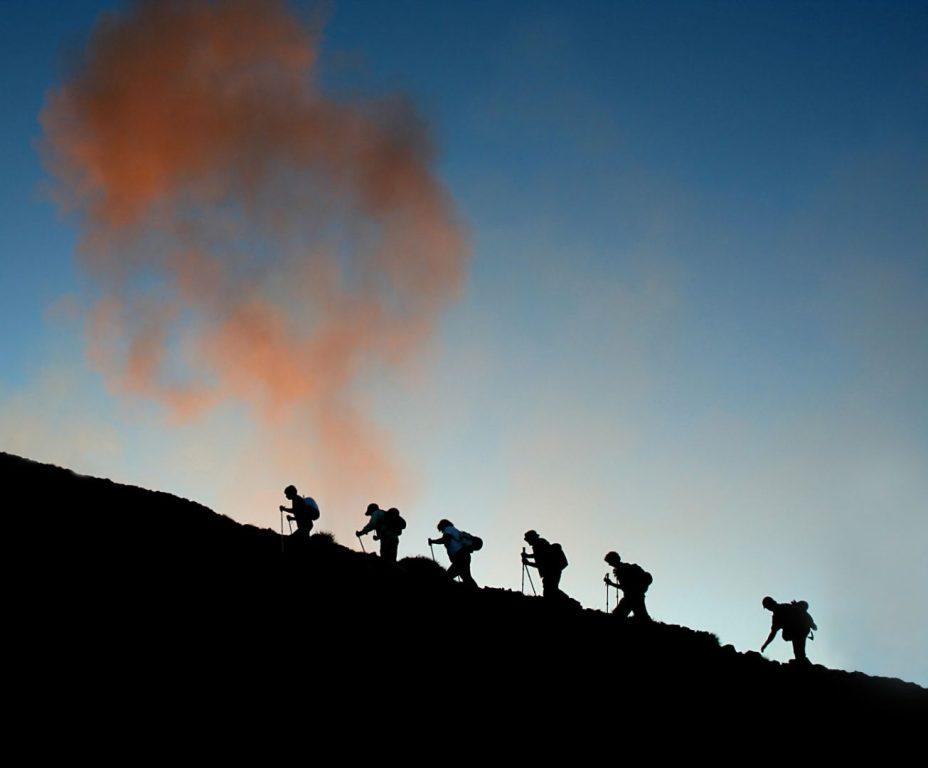 Aufstieg zum aktiven Stromboli während der Vulkantour