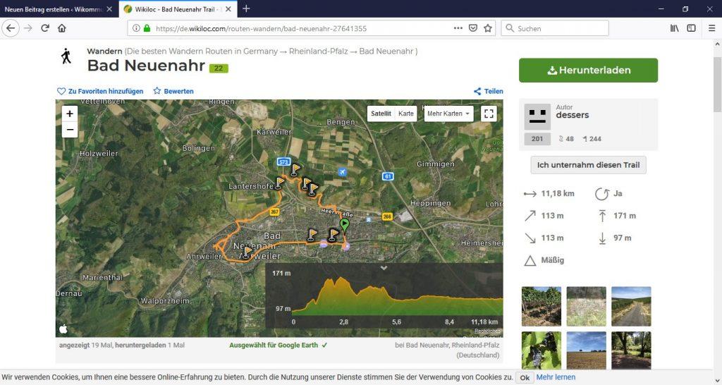 Route auf Google Earth