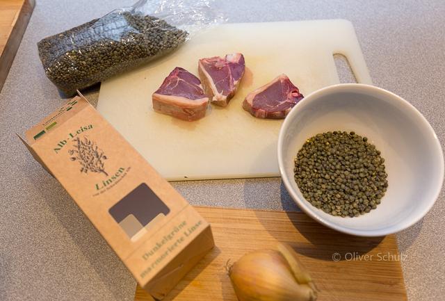Das wird ein Linsenslalat: Gerne auch mit Kotelett vom Alb Lamm