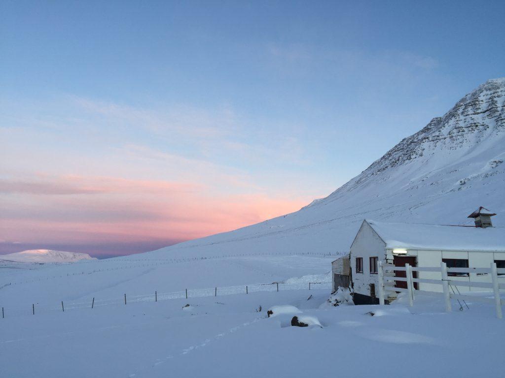 Sonnenaufgang in Island im Januar