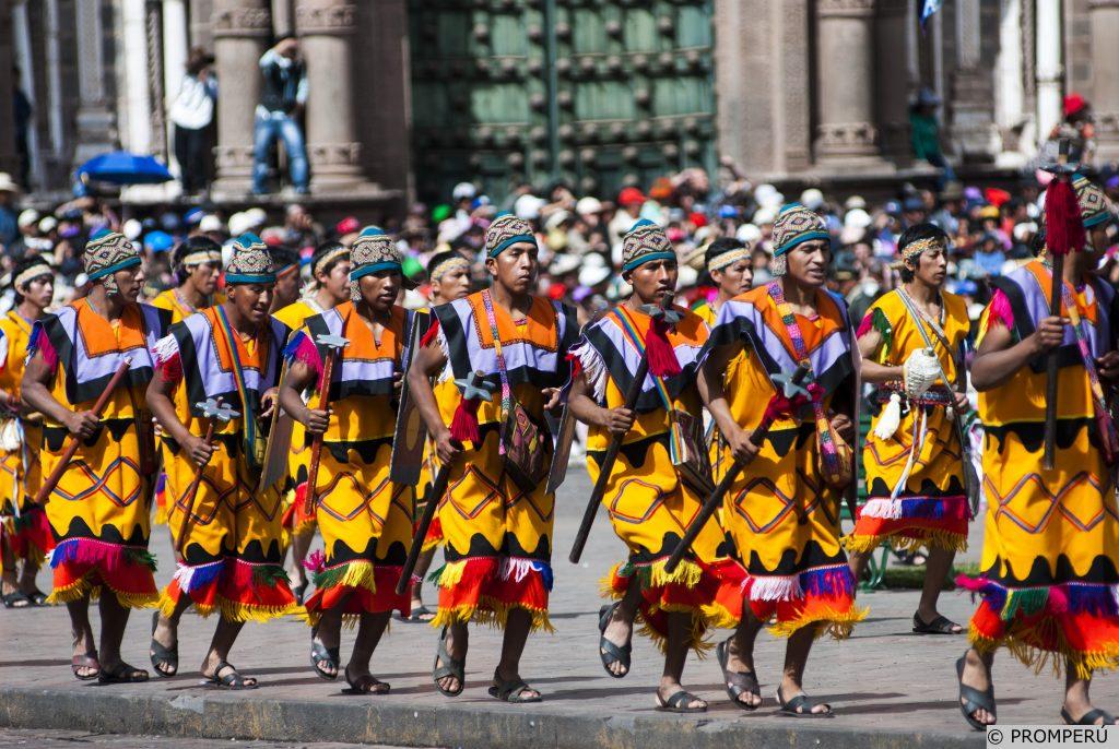 Schauspieler während des Inti Raymi am Plaza de Armas.