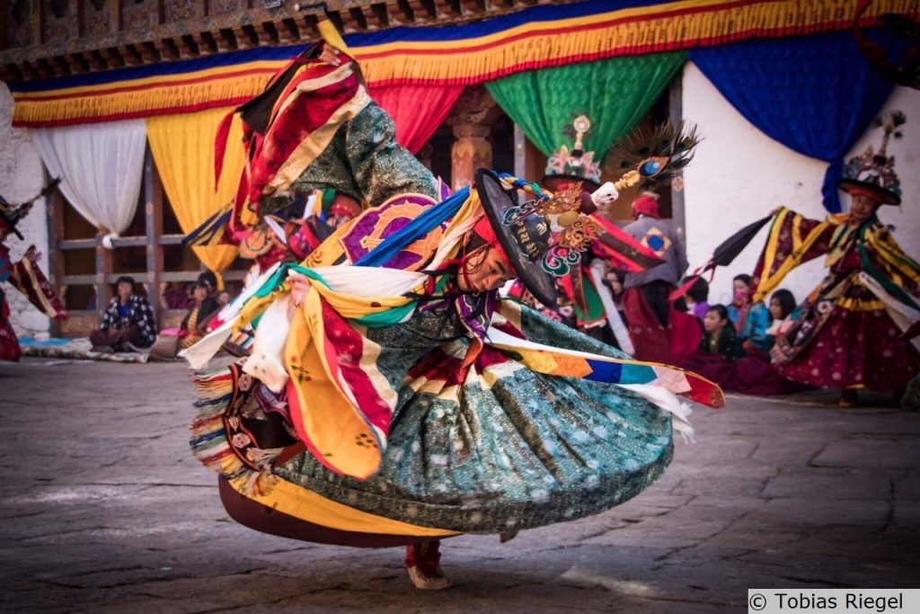 Feste in aller Welt: Tänzer beim Thimphu-Fest